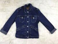 Levi's Girls Kids Denim Jean Jacket Size Small Raw Hem Cuff S Dark Wash