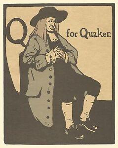William Nicholson Woodcut Print 1898 Q for Quaker Alphabet Lithograph 1975