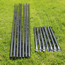 Black Pvc Coated Galvanized Steel Posts With Sleeves For 6' Deer Fencing 7pk.