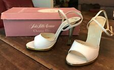 70's Christian Dior White Open toe Ankle Strap High Heels Disco Shoes 6.5