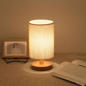 Nordic Cylinder Bedside Table Lamp Dimmer Wooden Table lamp Fabric Lampshade