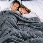 Внешний вид - 48x72in Cotton Weighted Blanket - Dark Grey Twin 48x72in  15lbs Calming Deep Sle