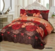 3-Pcs Super Soft QUEEN Quilted Reversible VELVET Bedspread Coverlet Set - SAMARA