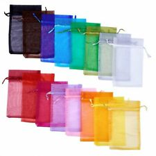 100x Mix Organza Gift Candy Bag Plain Drawstring 12cm Package Party Favour Pouch