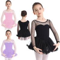 Mädchen Kinder Ballettanzug Langarm Tanzkleid Polka Dots Ballett Kleid mit Rock