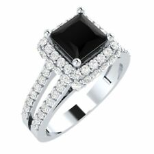 2.20ct Princess Cut Black Diamond Halo Engagement Ring 14K White Gold Over