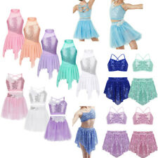 Girls Kids Lyrical Latin Ballet Dance Dress Sequins Tutu Skirt Leotard Dancewear