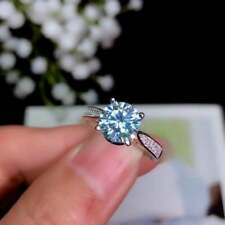 1.75 Tcw Solitaire with Accents Ring 14K White Gold Over Blue Round Moissanite