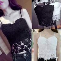 Women Summer Lace Floral Crochet Bralette Bralet Bustier Crop-Tops Cami Tank Top