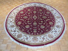 8 X 8 Ft Round Hand Knotted Red Persian Tabriz With Silk Oriental Rug G1744