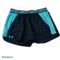 Under Armour UA womens Fly By Black Teal Loose Fit Running Shorts M Medium