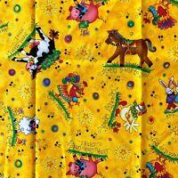 Cranston Village Yellow Farm Animals Kids Cotton Quilting Fabric 110W Per .25 Mt