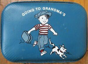 Children's Vintage Luggage/Suitcase: 'Going to Grandma's' w/Boy & Dog, Hardshell