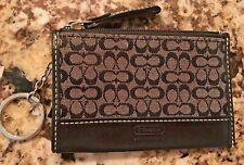 Coach Key Chain ID Business Card Coin Purse Leather & Canvas Logo Black