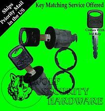 Ford Mazda Mercury Pair of 2 Door Key Lock Cylinders Black 3 OEM Ford Logo Keys