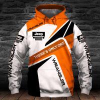 Jeep Wrangler/YJ/TJ/JK/JL/Rubicon/Men's Hoodie 3D-Orange-Size S to 5XL-Hot Gift