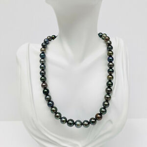 Tahitian Pearl Necklace Loose Strand Rounds/Near-Rounds 8-10mm Dark Green