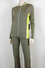NWT $320 BCBG MAX AZRIA Track Suit Athletic Gym Jacket & Pants Green Yellow L