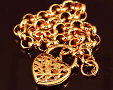 18k Yellow Gold Filled GF Solid GF Filigree Euro Heart Padlock Bracelet BL-A229