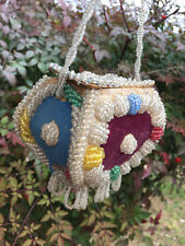 Antique 1900's Iroquois Indian Beaded Box Pouch Whimsy Purse - multi-colored