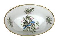 Vintage China Bowl Blue Bird Floral Print Oval Gold Trim White