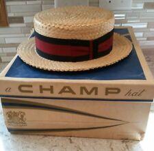 Vintage Champ Straw Boater Hat Skimmer Sz 7-1/8 Barbershop Red Black Ribbon Bow