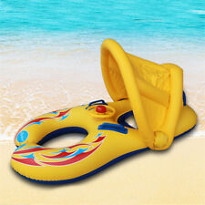 Inflatable Sunshade Mother Baby Swimming Pool Float Safe Ring Raft Seat Canopy
