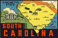 Vintage Travel Decal Replica Window Cling - South Carolina
