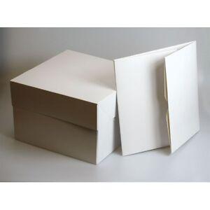 "White Cake Box & Lid 8"" 9"" 10"" 11"" 12"" 13"" 14"" 15"" & 16"" 18"" 20"" - Choose QTY"