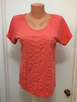 CARIBBEAN JOE  ISLAND SUPPLY  M  Embroidered  Shirt Short  Sleeves Salmon Cotton