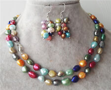 Beads Necklace 33'' + Earring Fashion 8-9mm Baroque Multi-color Freshwater Pearl