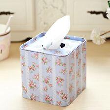 Square Shabby Chic Style Tin Tissue Box Paper Napkin Box Cover Rose Floral Print
