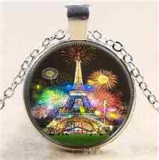 Eiffel Fireworks Photo Cabochon Glass Tibet Silver Chain Pendant Necklace