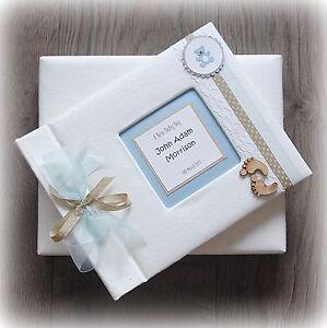 Luxury Personalised BABY BOY Photo Album/ Handmade Boxed/ Stunning gift