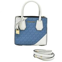 MICHAEL KORS Leather 2way Shoulder Crossbody Hand Tote Bag Blue White Gold