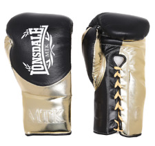 LONSDALE Unisex Black & Gold MTK L60 Lace Up Boxing Fight Gloves 8oz BNWT