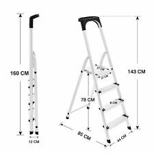 4 Step ALUMINIUM Ladder Folding TOP QUALITY - Safety Bar Tool Tray Lightweight