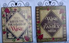 Set of 2 Decorative Wood Block WINE Pictures