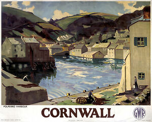 Cornwall Polperro (old rail ad.) mounted print    (se) REDUCED TO CLEAR