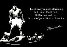 BOXING MUHAMMAD ALI INSPIRATIONAL POSTER WITH PREPRINTED AUTOGRAPH DON'T QUIT