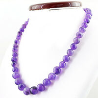 357.00 CTS NATURAL UNTREATED ROUND SHAPE RICH PURPLE AMETHYST BEADS NECKLACE