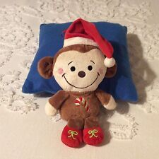 """Dandee Plush 10"""" Christmas Monkey Santa Hat Embroidered Candy Cane"""
