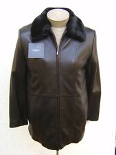 Liz Claiborne Womens S Fur Genuine Leather 3-In-1 Coat Jacket Shearling Bomber