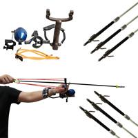 Profi Schießkatapult Angeln Bogenschießen Schleuder mit 6er Pfeilen Pfeilauflage