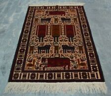 H278 Vintage Afghan Decor Wall Hanging Adam Pictorial Hunting Rug 4x6 Ft