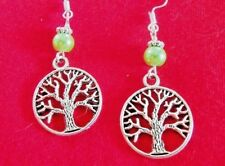 TREE of LIFE EARRINGS Rebirth charm Green Pearl NEW HANDMADE ~ Ships FREE to USA