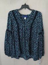 Women's Flowing Blue Simply Styled By Sears Crochet Blouse Size Large