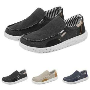 Mens Canvas Driving Moccasins Shoes Slip on Loafers Breathable Flats 3 Color D