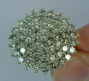14K Yellow Gold Over 2.00Ct Round Cut Diamond Engagement & Wedding Cluster Ring