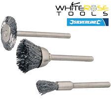Silverline Stahl Drahtbürste Set Rotary Tool Reinigung Polieren Hobby Drill 3pc